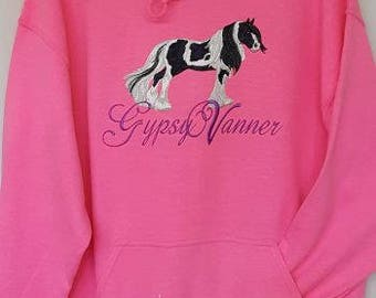 Gypsy Vanner Embroidered on a Hooded Sweatshirt