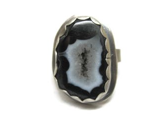 Vintage Black Druzy Geode Ring Sterling Size 9