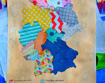 """Germany Collage Map Mixed Media Geometric Art  9"""" x12"""" Watercolor Paper Original World Peace Quote Prayer"""