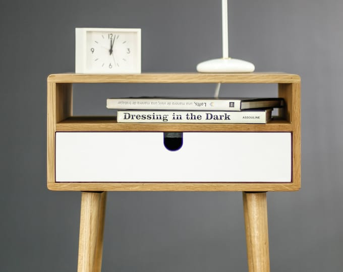 Nightstand, mid century style made in solid American oak with 1 white drawer
