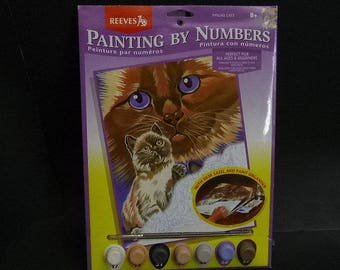 """Reeves Cats, Paint by Number Kit,  9"""" X 12"""" painting, model number PPNJ45,  New in Package, amateur art,"""