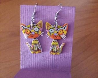 Orange Cat Earrings