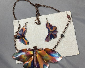 Butterfly Set- Shaped Earrings and Butterfly Pendant on Copper chain -Handcut and Flame Painted Copper