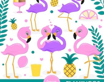 Flamingo clipart, Flamingos digital graphics, Love clip art, Valentines flamingo, Animal clipart, Summer clipart, Commercial use - CA527