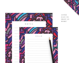 Floral Printable Stationery Set Letter Note Paper Digital Download