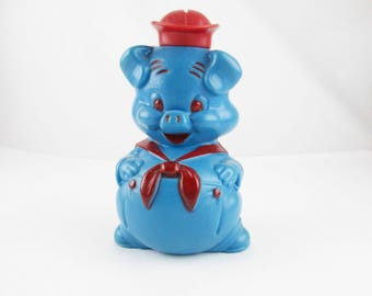 A Blue 'Piggy' Bank - Hard Plastic With Removable Hat - Blue With Red Trim -  Money Bank - Piggy Bank - Blue Pig