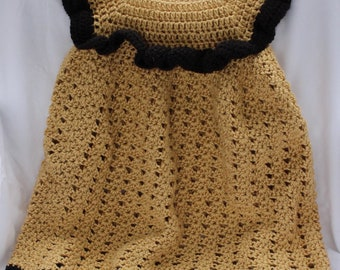 Handmade crocheted baby dress gold and black  12-18 months