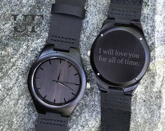 Mens gift Anniversary Gifts for Husband, 1 year Anniversary Gift for Him, 2 year Anniversary Gifts for Boyfriend, Mens Watch Wood Engraved