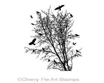 Tree with crows- ravens -CLiNG RuBBer STaMP by Cherry Pie Q450