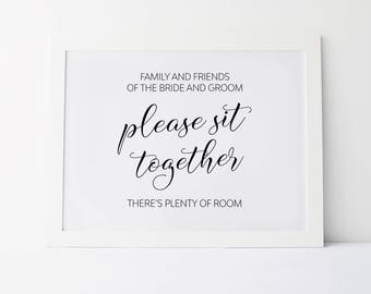 Please Sit Together Theres Plenty Of Room, Wedding Signage, Wedding Signs, Reception Signs, Wedding Seating Sign, Wedding Prints, Seat Sign