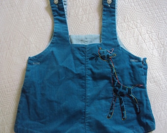Infant Romper, turquoise blue corduroy, embroidered giraffe, 3-6mo. c. 1954