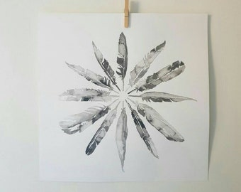 Feather Circle Ink Print