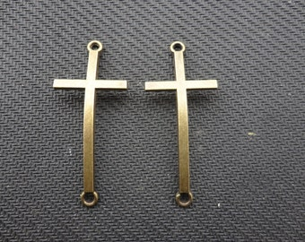 20 pcs Antique Bronze Curved Sideways Cross Bracelet Connectors Charms 21mmx52mm