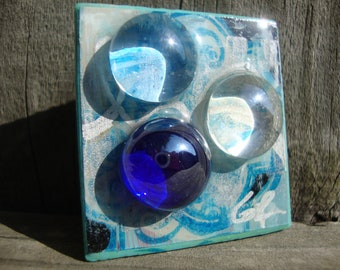 Wearable Art Pin Blue and Silver Mixed Media Brooch 10.00 Gifts