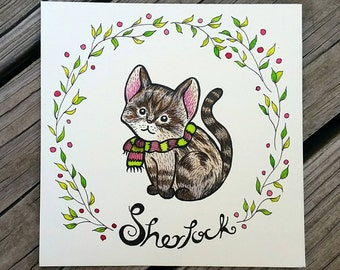 Custom Pet Portrait - Special Low Price! Perfect Gift for Dog and Cat Lovers - or Any Animal - Great for Christmas & Gifts!