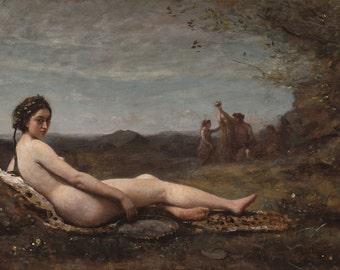 "Camille Corot : ""Repose"" (1860) - Giclee Fine Art Print"
