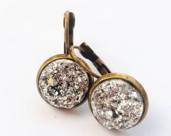 Silver faux druzy lever back earrings.