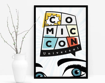 Comic Con, Art print, Poster, Wall art, Living room decorations, Hall decorations, Printable wall poster, Decoration, Digital, Print, Comic