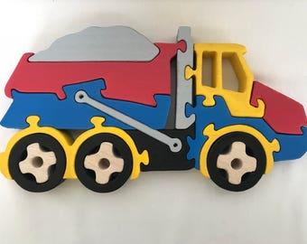 Handmade Montessori Educational Puzzle Wooden Dump Truck Toy