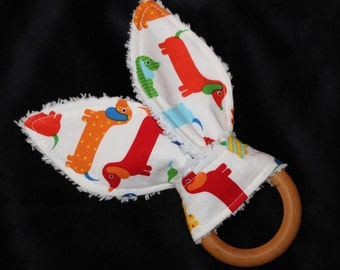 Primary Dachsunds Rabbit Ears Wooden Teething Ring