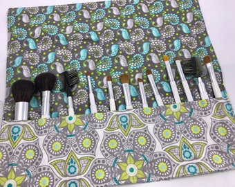 Makeup Brush Roll - Makeup Brush Holder - Makeup Brush Bag - Makeup Brush Organizer - Makeup Brush Case -  Bloom Henna Blossom in Gray