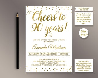 90th birthday invitation etsy editable 90th birthday party invitation template cheers to 90 years 90th anniversary invitation gold filmwisefo Gallery