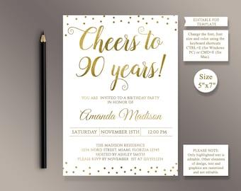 90th birthday invitations etsy editable 90th birthday party invitation template filmwisefo