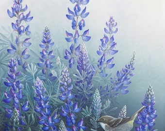 Original Lupine and Warbler Painting