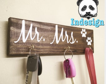 Mr And Mrs, Mr And Mrs Sign, His Hers Dog, Key Hanger,