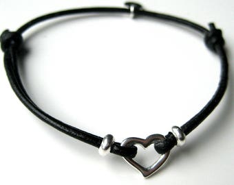 Sterling Silver heart and N3385 leather cord bracelet