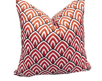 HOME DECORATIVE 18x18 Premier Red Brown and White Throw Pillow Cover. TOSS Cushion Cover.