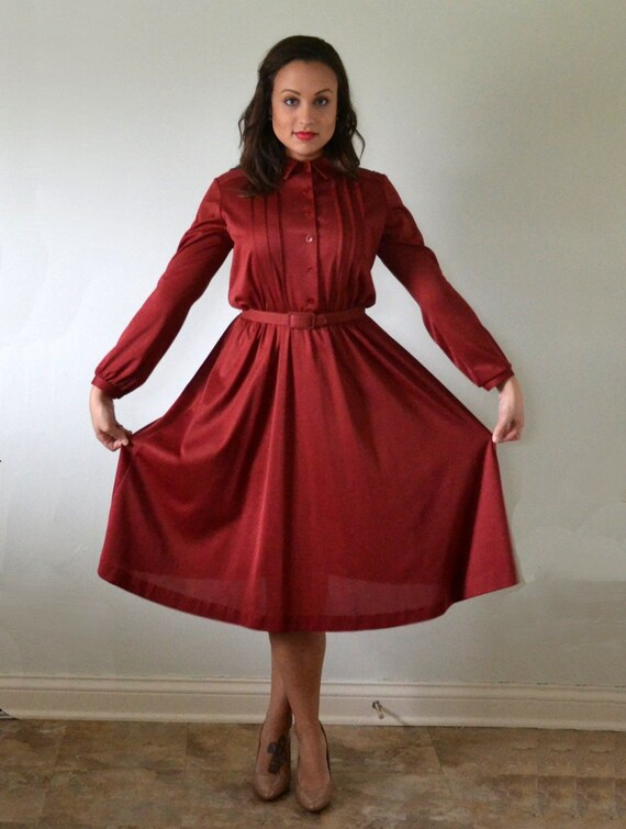 Mulberry Muse Dress | vintage 70's does 40's wine red day dress | JC Penney