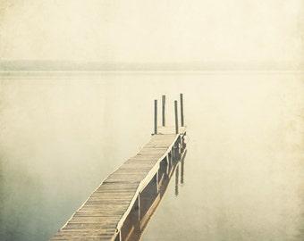 """Pier Photograph, Summer Beach Photography, Minimalist Landscape, Neutral Beige Wall Art, Beach Wall Art, 8x8 Print """"Bestill"""""""