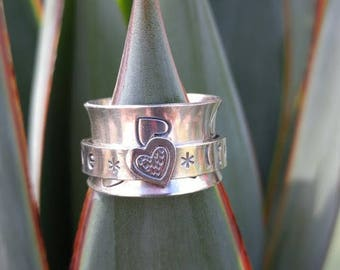 LOVE * LIVE * LAUGH *Heart Spinner Ring Sterling Silver Fidget Ring Worry Ring Meditation Ring