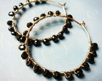 Hoop Earrings   Black Hoop Earrings   Faceted Black Spinel Stone   Sterling Silver Hoop Earrings
