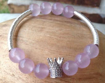 Queens Crown Jewelry Charm, Lavender Glass Beaded Bracelet, Empowered