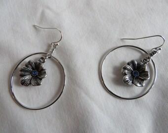 Flower Dangle Earrings, Earrings, Dangle, Blue, Flower, Loop