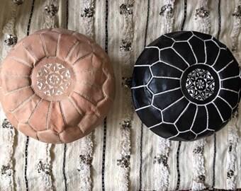 Camel Leather Pouf, Brown Moroccan Pouf Ottoman, Boho Round Pouffe, Gift for Him, Bohemian Home Decor
