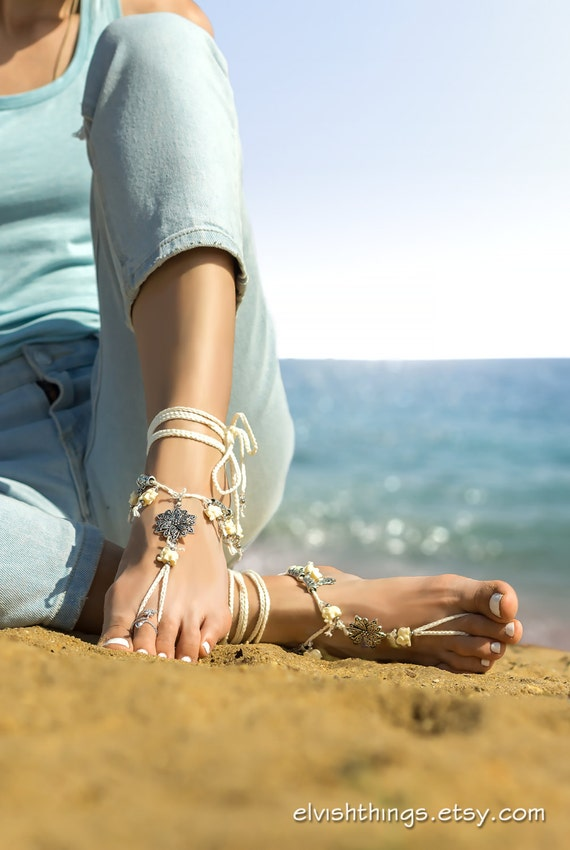 Boho Ivory sandals anklet foot Foot sandal bare Beach barefoot sandals wedding Bottomless jewelry Barefoot sandals Soleless sandals Yoga w77S1xq