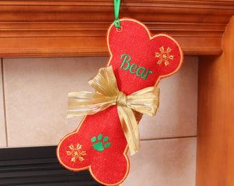 Dog Stocking Personalized Burlap Stocking, Red Dog Bone Stocking,custom name, Personalized Pet Stocking, Christmas stocking for Pet, Sparkle