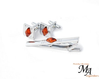 15080 Elegant Cufflinks with Amber Stone + Certificate cuff links man