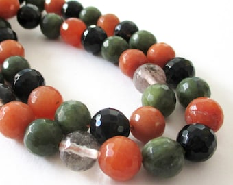 "Agate Faceted Round Beads - Round Ball Agate - Green Black Orange Beads - Natural Drilled Gemstone - 10mm - 16"" - Diy Beaded Women necklace"