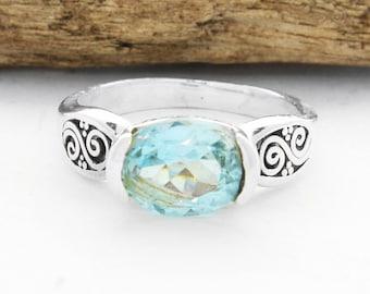 Gift For Her,  Silver Filigree Blue Topaz Ring, Bali Handmade  Ring, Blue Topaz Oval Ring, Sterling Silver Blue Topaz Ring, Topaz ring