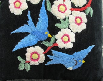 Vintage Bluebird Happiness Embroidered Toss Cushion Pillow