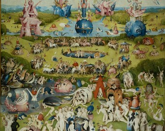 Hieronymus Bosch : The Garden of Earthly Delights (1503–1515) Canvas Gallery Wrapped Wall Art Print