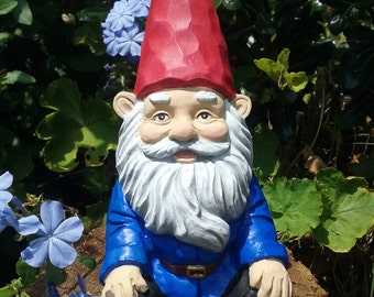 "Gnome, Relaxing Garden Gnome, 5.6""  Inches Tall, Solid Cement,  Traditional Gnome,"