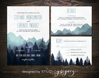 Mountain Wedding Printable Invitation Suite, Great Outdoors Wedding Printable Invitation Set, Digital Wedding Invitation Suite