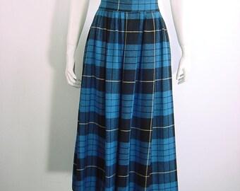 80s Vintage Midi Skirt Wool Blend High Waisted Plaid Skirt - 27 inch waist