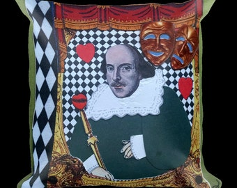Shakespeare Decorative Pillow-Theater,Drama,Stage,Writer,Author,Playwrite,Classic,Romeo,Theatre,Comedy,Tragedy,Throw Pillow,Pillow