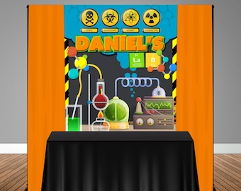 Science Lab Themed 5x6 Table Banner Backdrop/ Step & Repeat, Design, Print and Ship!